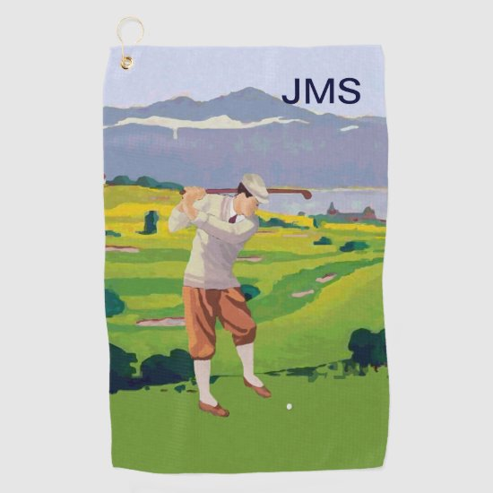 Personalized Vintage Style Highlands Golfing Golf Towel