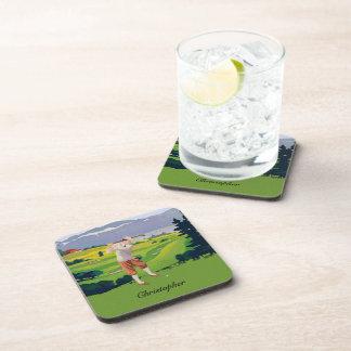 Personalized Vintage Style Highlands Golfing Scene Beverage Coaster