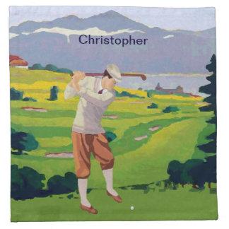 Personalized Vintage Style Highlands Golfing Scene Cloth Napkin