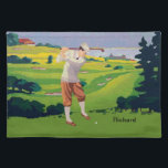 """Personalized Vintage Style Highlands Golfing Scene Cloth Placemat<br><div class=""""desc"""">Personalized Vintage Style Highlands Golfing Scene.Showing a golfer taking a swing with a wooden golf club . Makes a great gift for any golfer or as a golfing award via customization. Please contact us if you require customization of this product to your specifications</div>"""