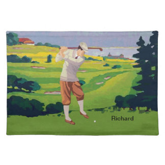 Personalized Vintage Style Highlands Golfing Scene Cloth Placemat