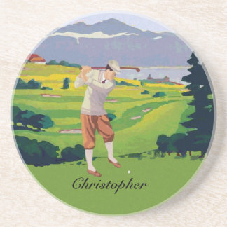 Personalized Vintage Style Highlands Golfing Scene Coaster