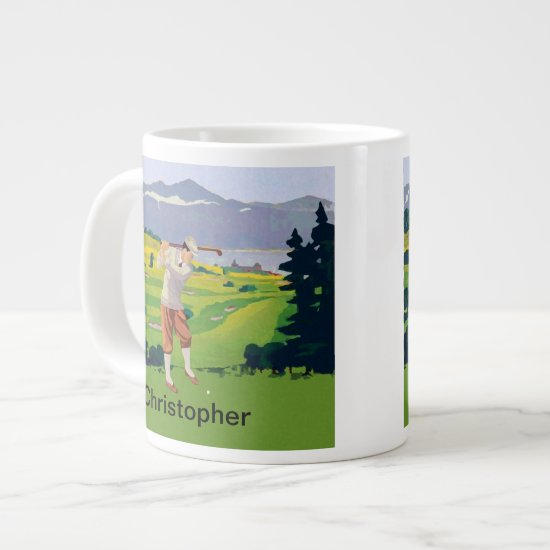 Personalized Vintage Style Highlands Golfing Scene Giant Coffee Mug