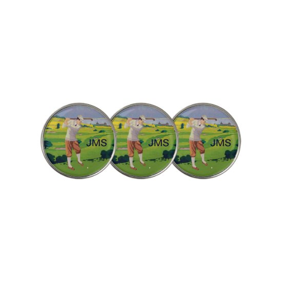 Personalized Vintage Style Highlands Golfing Scene Golf Ball Marker