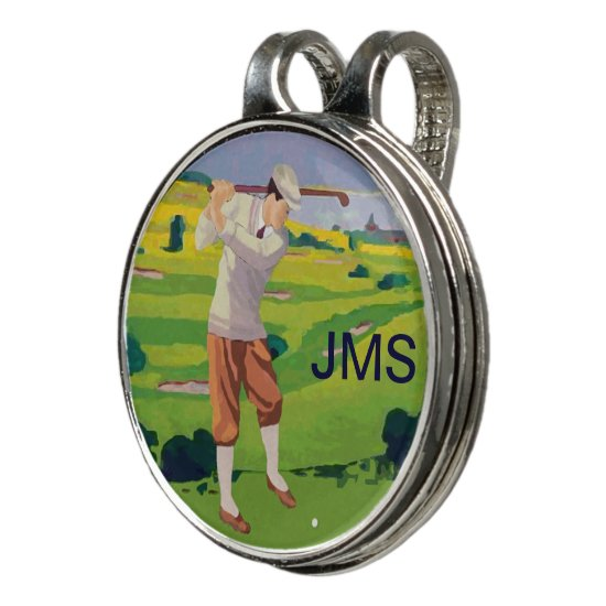 Personalized Vintage Style Highlands Golfing Scene Golf Hat Clip