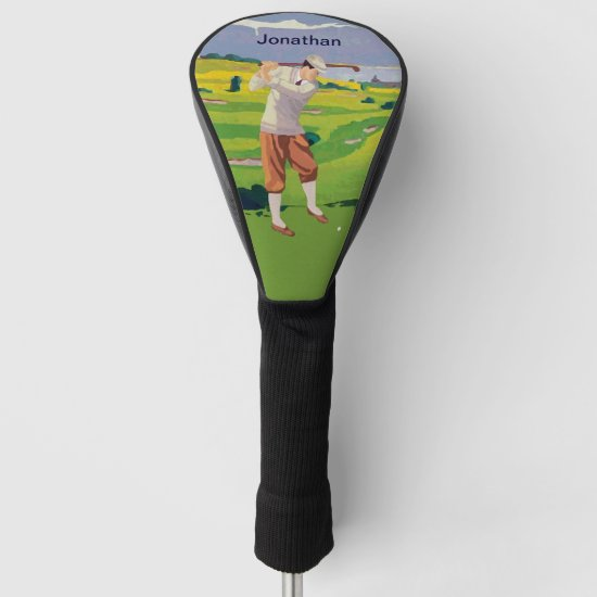 Personalized Vintage Style Highlands Golfing Scene Golf Head Cover