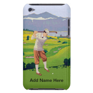Personalized Vintage Style Highlands Golfing Scene iPod Touch Case-Mate Case