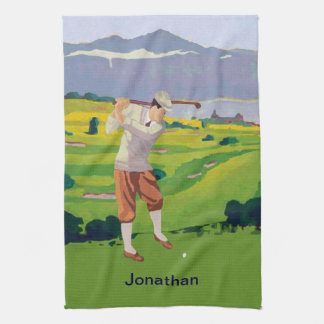 Personalized Vintage Style Highlands Golfing Scene Kitchen Towel