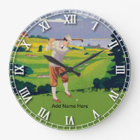 Personalized Vintage Style Highlands Golfing Scene Large Clock