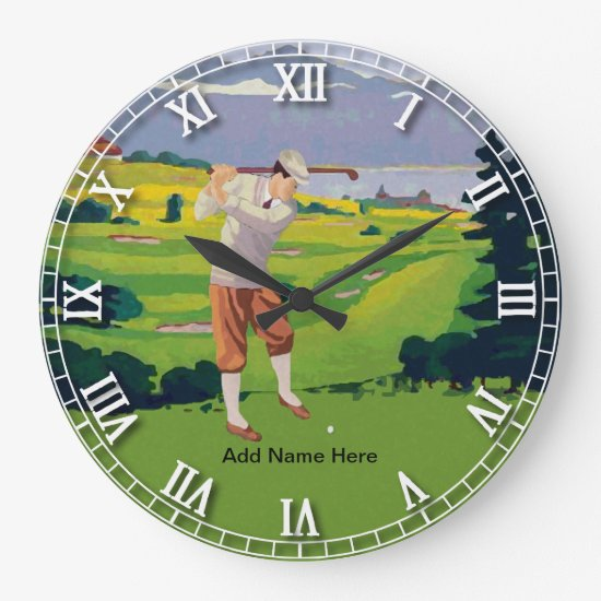 Personalized Vintage Style Highlands Golfing Scene Large Clock