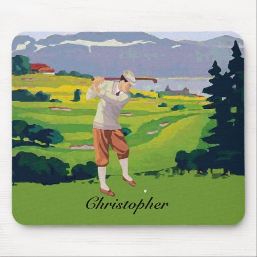 Personalized Vintage Highlands Golf Scene Mouse Pad