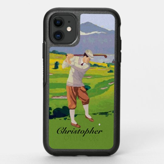 Personalized Vintage Style Highlands Golfing Scene OtterBox iPhone Case