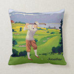 Personalized Vintage Style Highlands Golfing Scene Pillow