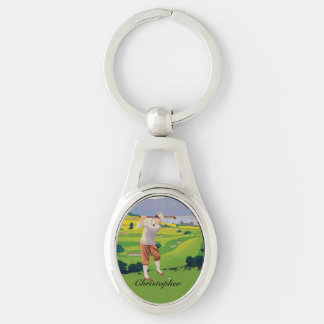 Personalized Vintage Style Highlands Golfing Scene Silver-Colored Oval Metal Keychain