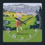 "Personalized Vintage Style Highlands Golfing Scene Square Wall Clock<br><div class=""desc"">Personalized Vintage Style Highlands Golfing Scene.Showing a golfer taking a swing with a wooden golf club . Makes a great gift for any golfer or as a golfing award via customization. Please contact us if you require customization of this product to your specifications</div>"