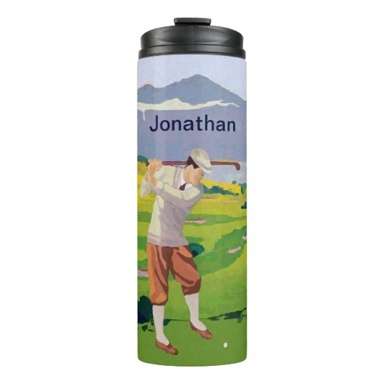 Personalized Vintage Style Highlands Golfing Scene Thermal Tumbler