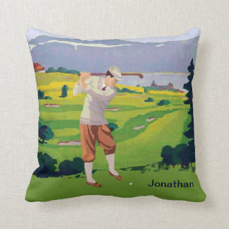 Personalized Vintage Style Highlands Golfing Scene Throw Pillow