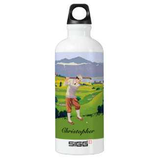 Personalized Vintage Style Highlands Golfing Scene Water Bottle