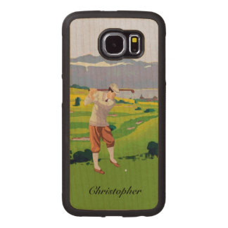 Personalized Vintage Style Highlands Golfing Scene Wood Phone Case