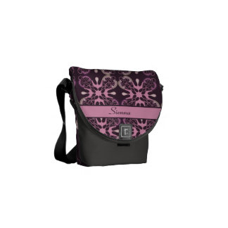 Personalized Vintage Style Purple Geometric Damask Courier Bags