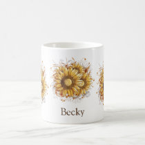 Personalized Vintage Sunflowers Coffee Mug