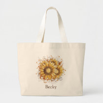Personalized Vintage Sunflowers Large Tote Bag