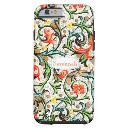 Personalized Vintage Swirly Damask Tough iPhone 6 Case