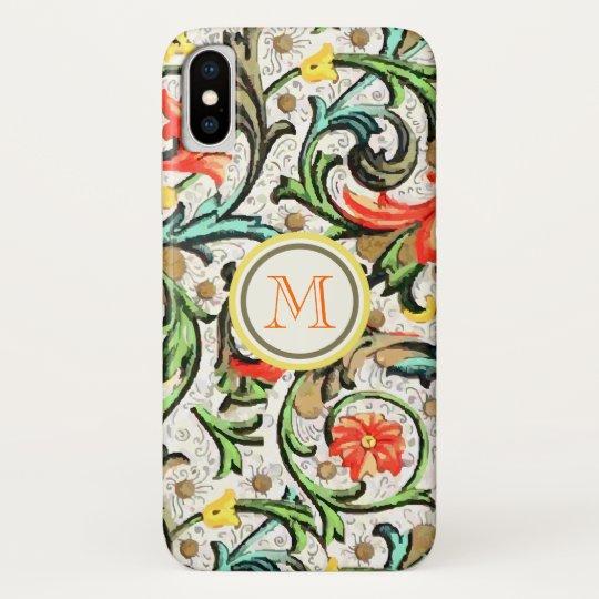 Personalized Vintage Swirly Damask iphone iPhone X Case