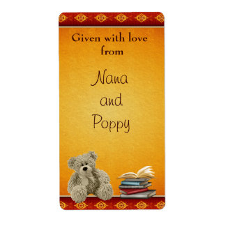 Personalized Vintage Teddy Bring a Book Bookplates Label