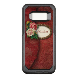 Personalized Vintage Torn Red Damask and Roses OtterBox Commuter Samsung Galaxy S8 Case