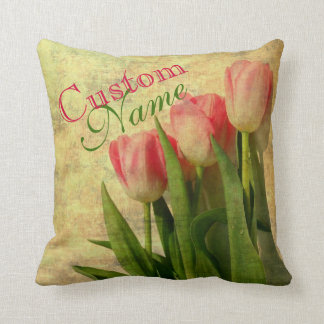 Personalized Vintage Tulips Pillow