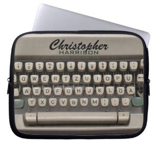 Personalized Vintage Typewriter Electronics Bag Computer Sleeve Case
