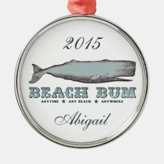 Personalized Vintage Victorian Whale Beach Bum Metal Ornament