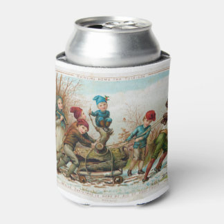 Personalized Vintage Victorian Yule Log Can Cooler