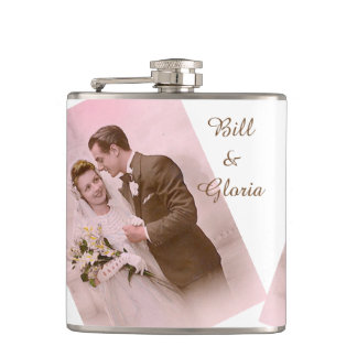 Personalized Vintage Wedding Couple Pink and Brown Flask