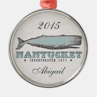 Personalized Vintage Whale Nantucket MA Ornament