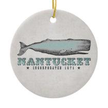 Personalized Vintage Whale Nantucket Massachusetts Ceramic Ornament