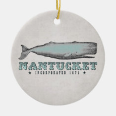 Personalized Vintage Whale Nantucket Massachusetts Ceramic Ornament at Zazzle