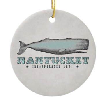 Beach Themed Personalized Vintage Whale Nantucket Massachusetts Ceramic Ornament
