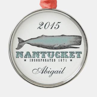 Personalized Vintage Whale Nantucket Massachusetts Metal Ornament