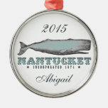 Personalized Vintage Whale Nantucket Massachusetts Round Metal Christmas Ornament