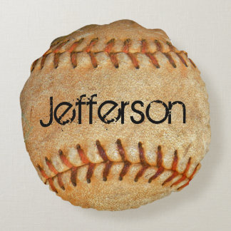 Personalized Vintage White Baseball red stitching Round Pillow