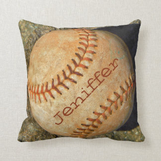Personalized vintage White softball red stitching Pillow