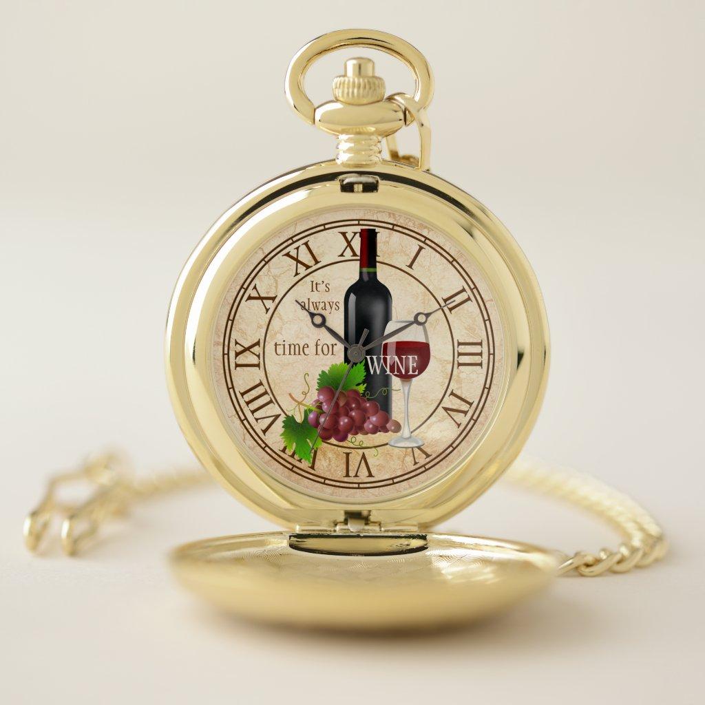 Personalized Vintage Wine Pocket Watch