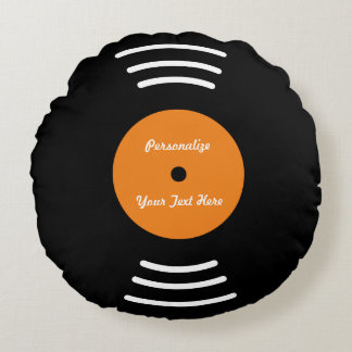 Personalized vinyl music record throw pillow