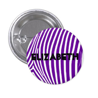 Personalized Violet Purple Zebra Stripes 1 Inch Round Button