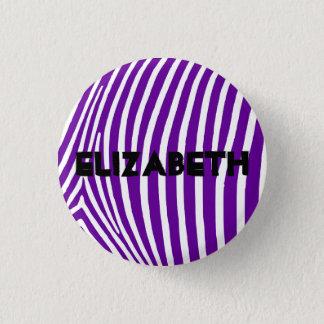 Personalized Violet Purple Zebra Stripes Pinback Button