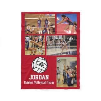 Personalized Volleyball 5 Photo Collage Name Team# Fleece Blanket