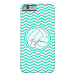 Personalized Volleyball; Aqua Green Chevron Barely There iPhone 6 Case