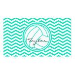 Personalized Volleyball; Aqua Green Chevron Business Card